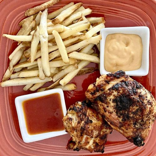 Air Fryer Chicken Thighs and French Fries