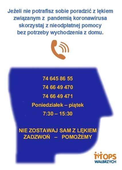 Jeżeli niepotrafisz sobie poradzić zlękiem związanym zpandemią koronawirusa skorzystaj znieodpłatnej pomocy bezpotrzeby wychodzenia zdomu.  746458655, 746649470, 746649473 odponiedziałku dopiątku wgodzinach 7:30 do15:30. Niezostawaj sam zlękiem zadzwoń – pomożemy.
