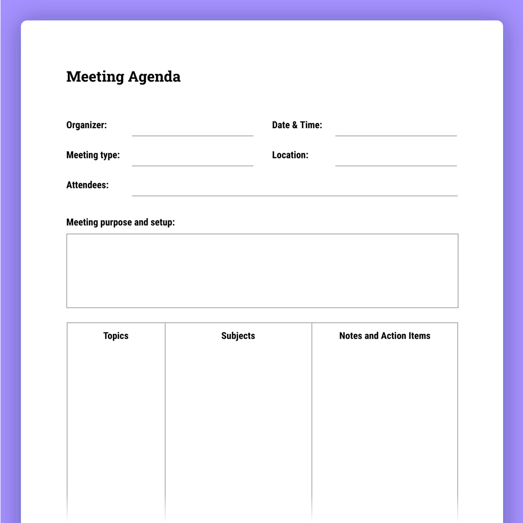 Persons attending the meeting are usually given the meeting agenda before the meeting, and ideally, this should be at least 24 hours in advance. How To Run Effective Meetings With Templates The Moqups Blog
