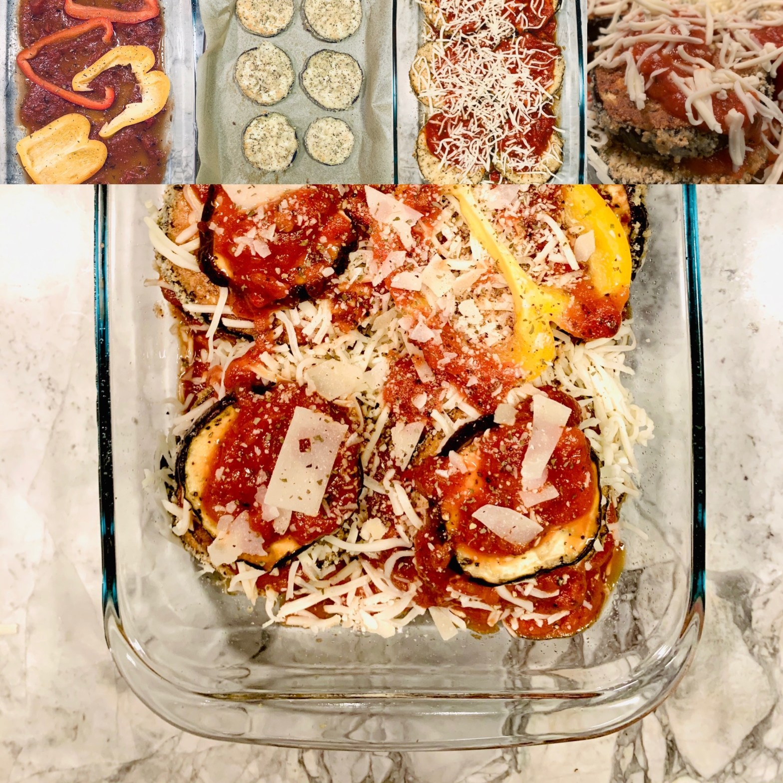 Eggplant parmesan in four steps.