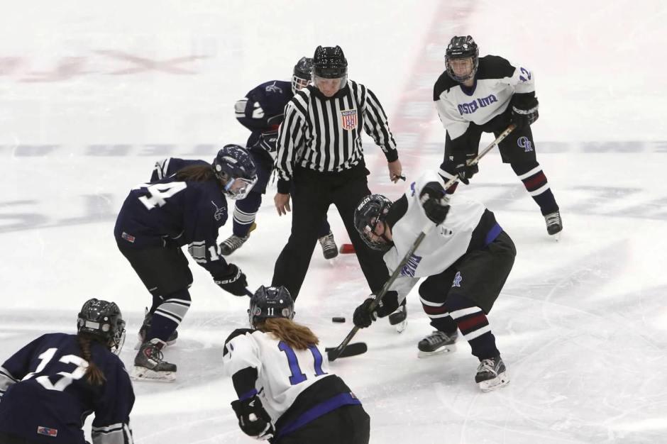 girls hockey face off