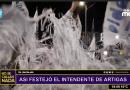 El Intendente de Artigas llegó a festejar escondido en papeles