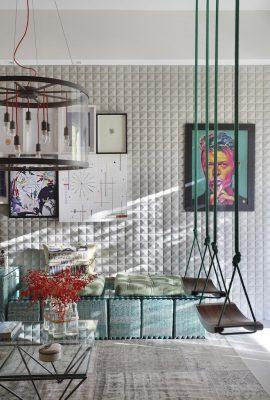 Sala Bar assinada por Marcella Bacellar e Renata Lemos, com sofá feito a partir de cartelas de ovos de papelão