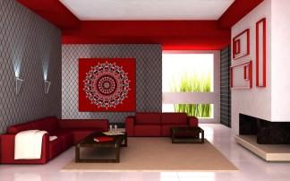 Black and Red Mandala Print