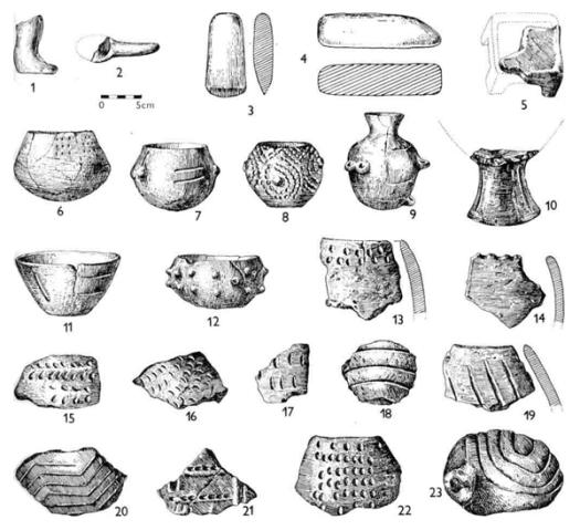"""Inventář nejstarší (""""križsko-volutové"""") fáze kultury s lineární keramikou."""