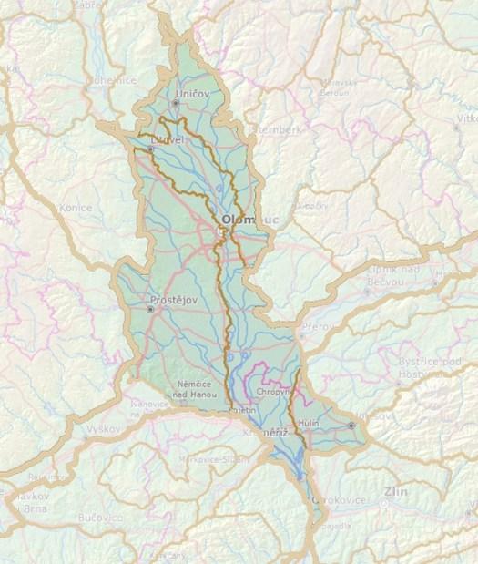 Geomorfologické rozdělení Hornomoravského úvalu.