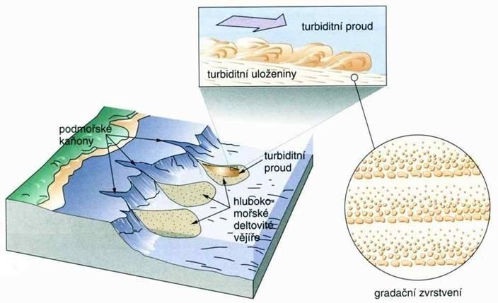 Podmořské kaňony a hlubokomořské deltové vějíře.