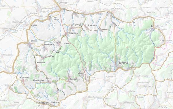 Geomorfologické rozdělení Dambořické pahorkatiny.