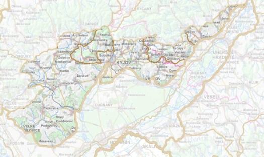 Geomorfologické rozdělení Kyjovské pahorkatiny.