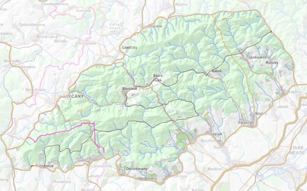 Geomorfologické rozdělení Stupavské vrchoviny.