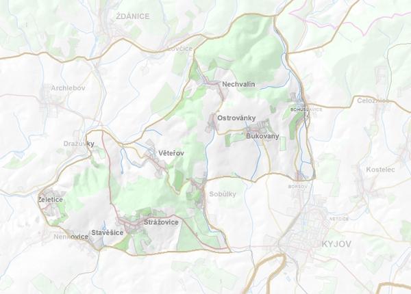 Geomorfologické vymezení Věteřovské vrchoviny.
