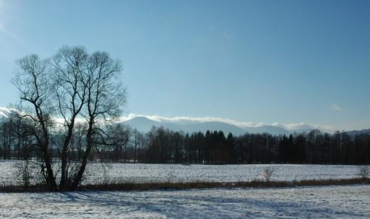 Lysohorské podhůří v zimním období.