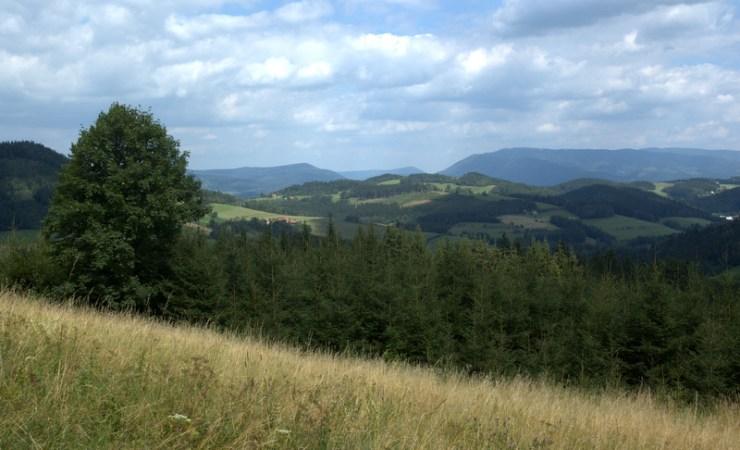 Odlesněné vrcholky Valašskobystřické vrchoviny skýtají nádherné výhledy na Moravskoslezské Beskydy.