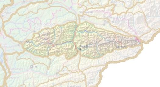 Geomorfologické rozdělení Hostýnsko–vsetínské hornatiny.