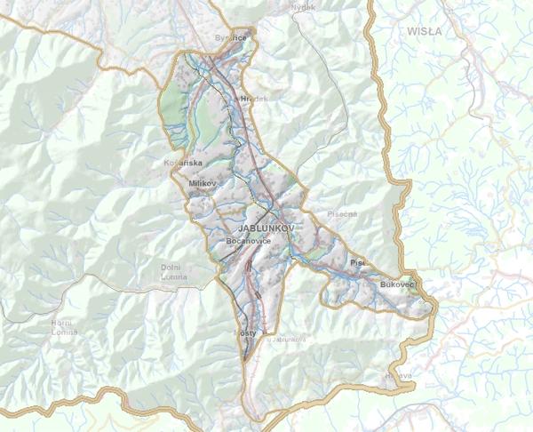 Geomorfologické rozdělení Jablunkovské brázdy.