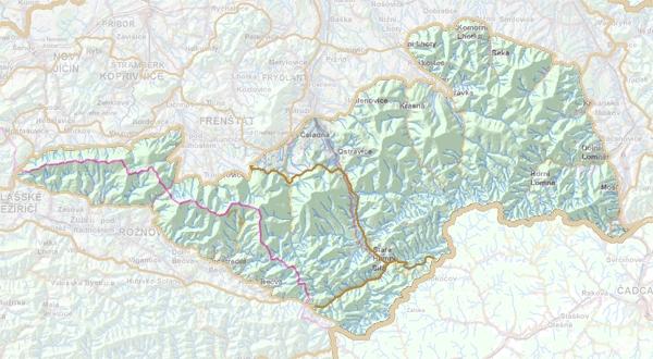 Geomorfologické rozdělení Moravskoslezských Beskyd.
