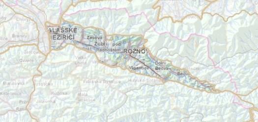 Geomorfologické rozdělení Rožnovské brázdy.