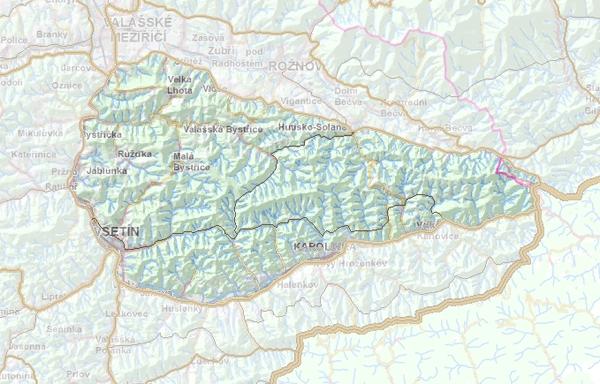 Geomorfologické rozdělení Vsetínských vrchů.