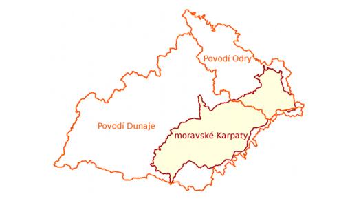 Oblasti povodí I. řádu na území Moravských Karpat.