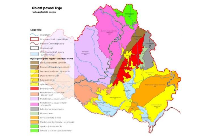 Hydrogeologické poměry povodí Dyje (zdroj: http://www.pmo.cz/pop/2009/Dyje/end/a-popis/mapy/ma_1_4.jpg)