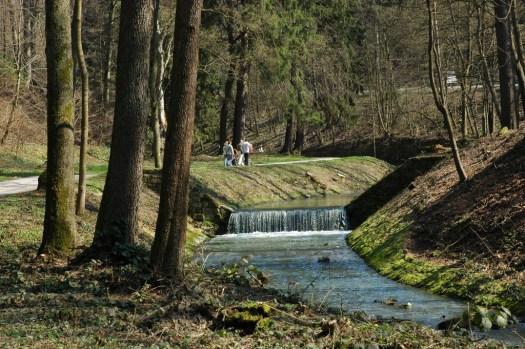Říčka Šťávnice v lázeňském údolí po přehradou.
