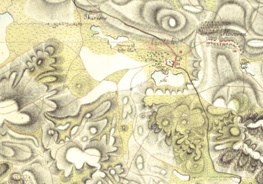 Stav Čejčského jezera na mapě z I. vojenského mapování. U Terezína je se nachází rybník Smraďák (zdroj: http://oldmaps.geolab.cz)