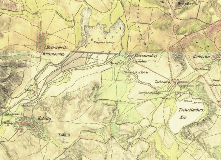Stav Kobylského a Čejčského jezera na mapě z II. vojenského mapování. U Terezína je možné rozeznat také Smraďák (zdroj: mapy.cz)