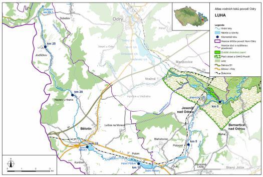 Mapa: tok Luhy (zdroj: Atlas hlavních vodních toků povodí Odry, https://www.pod.cz/atlas_toku/luha.html).