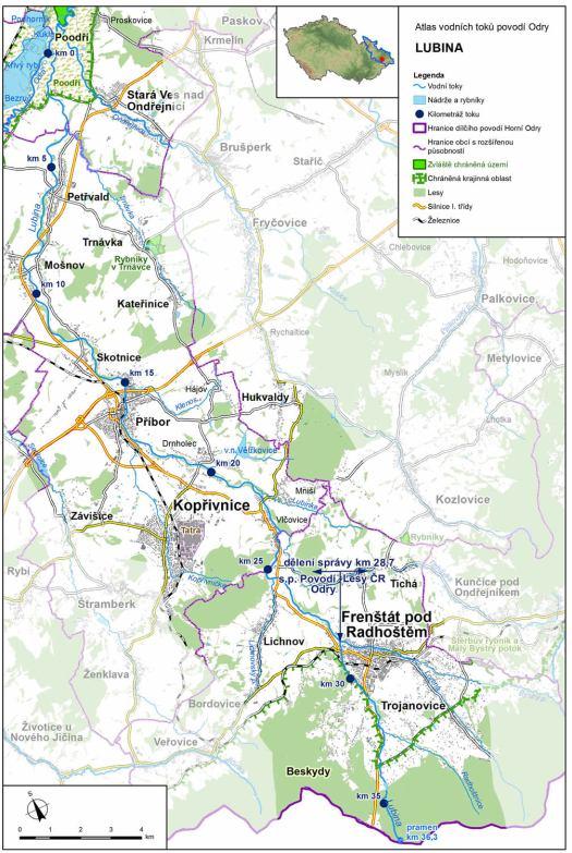 Mapa: tok Lubiny (zdroj: Atlas hlavních vodních toků povodí Odry, https://www.pod.cz/atlas_toku/lubina.html).