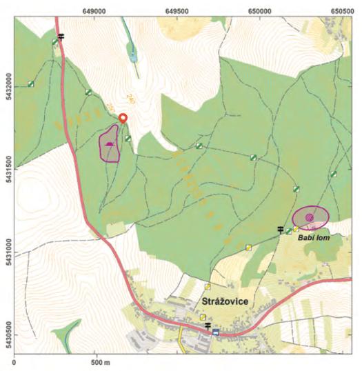 Mapa lokality Strážovice.