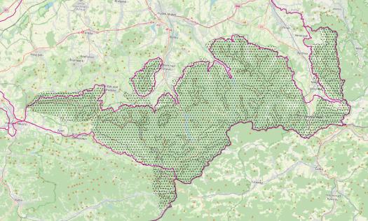 Vymezení Beskydského bioregionu.