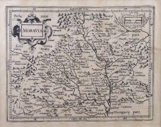 Mapa Moravy, P. Kaerius, 1616 |(zdroj: https://www.artkabinet.cz/en/renaissance.html).