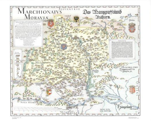 Kolorovaná Fabriciova mapa Moravy z roku 1569 (zdroj: https://geoportal.cuzk.cz/(S(anowqoujsg0k1t2sszg4uru5))/Default.aspx?mode=TextMeta&side=mapy_tiskKHM&metadataID=CZ-CUZK-FABRICIUS-T).