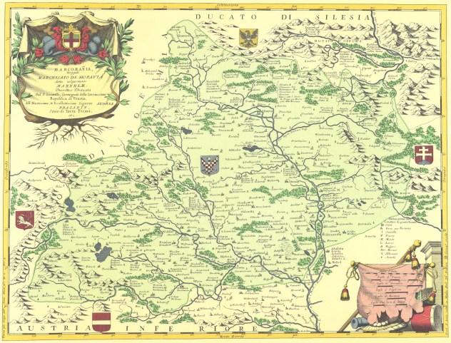 Coronelliova mapa Moravy, rok vydání 1692 (zdroj: https://commons.wikimedia.org/wiki/File:Coronelliova_mapa_Moravy.jpg).