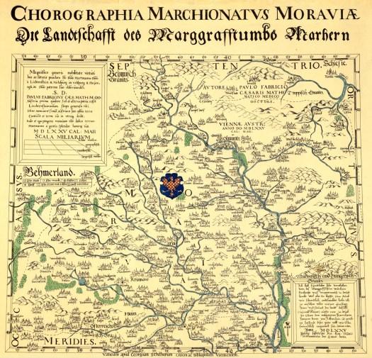 Fabriciova mapa Moravy - vydání z roku 1575 (zdroj: https://cs.wikipedia.org/wiki/Fabriciova_mapa)