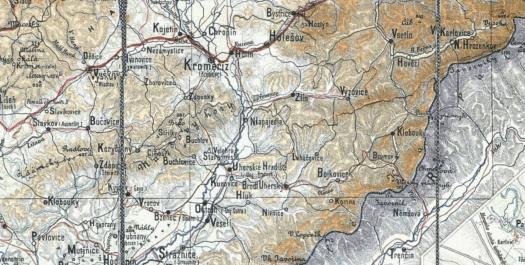Výřez ze Schoberovy Moravy z roku 1888. Perličkou na mapě je pojmenování pohoří Chřibů jako Marsovy hory (zdroj: http://www.stmapy.cz/m1888.html).