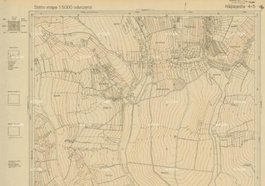 Státní mapa odvozená, mapový list NAPA 4-5, měřítko 1:5 000 (zdroj: https://archivnimapy.cuzk.cz/smo5_s52/NAPA/NAPA45_1964.html).