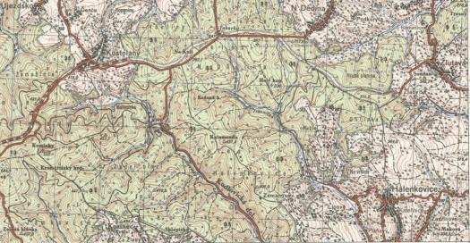Topografická mapa Halenkovic v systému S-1952, měřítko 1:50 000 (zdroj: https://ags.cuzk.cz/archiv/openmap.html?typ=topo1952&idrastru=D7_4_1__M_33_107_B).