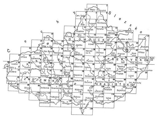 Mapový klad I. vojenského mapování na Moravě (zdroj: http://oldmaps.geolab.cz/map_region.pl?lang=cs&map_root=1vm&map_region=mo).