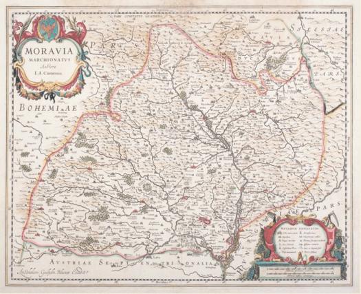 Jedna z dalších podob Komenského mapy Moravy (se zaměřením na výskyt vinic, nedatováno) (zdroj: http://www.vinarskecentrum.cz/obchod/knihy-katalogy-dvd-mapy/mapy-pexeso-kalendar/komenskeho-mapa-moravy/).