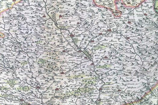 Výřez z Komenského mapy Moravy z roku 1680 se zaměřením na střední Moravu. (zdroj: https://www.geobusiness.cz/komenskeho-mapa-moravy-vystava-2018/).