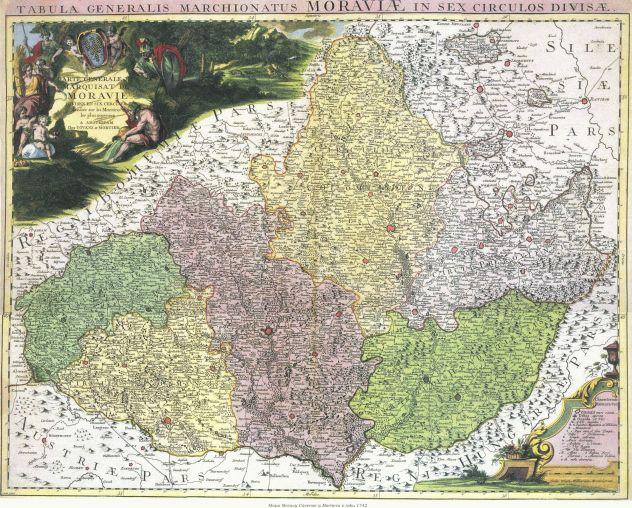 Mapa Moravy Cóvense a Mortiera z roku 1742 (zdroj: http://www.stmapy.cz/files/full/m1742-22.jpg).