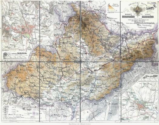 Mapa Moravy z roku 1888 podle Schobera (zdroj: http://www.stmapy.cz/m1888.html).