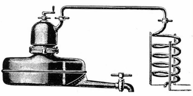 Přístroj na pálení slivovice k vytápění přímým ohněm. Fa František Indra, Brno. (zdroj: http://www.tech-info.cz/palenka-destilace.html)