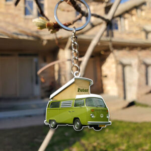 Van Bus Hippie Camping 1 Personalized Wooden Keychain 3 YZC2602101