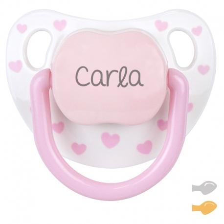 Chupete personalizado baby chic blanco rosa mi pipo mordisquitos corazones