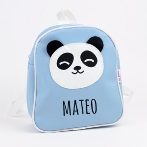 Mochila panda azul personalizada vuelta al cole mi pipo mordisquitos
