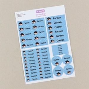 Pack 46 etiquetas adhesivas personalizadas para la guardería colegio escuela mi pipo mordisquitos