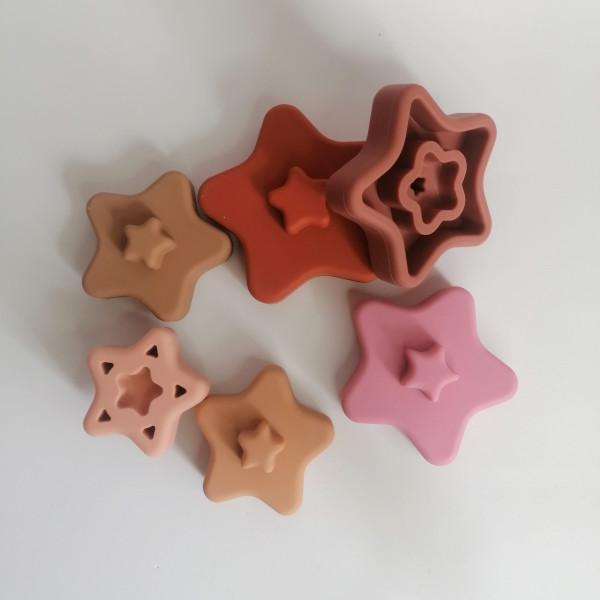 Estrellas apilables de silicona juego construcción bebés mordisquitos
