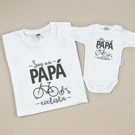 Pack prendas papa y bebé soy un papá ciclista mi papa es ciclista regalo dia del padre